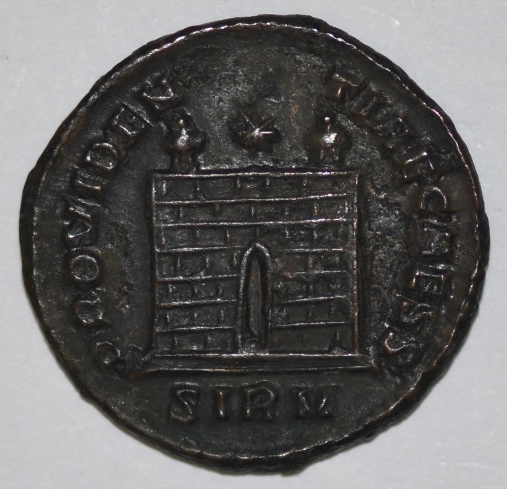 Constantius II Campgate from the Sirium mint showing two turrets