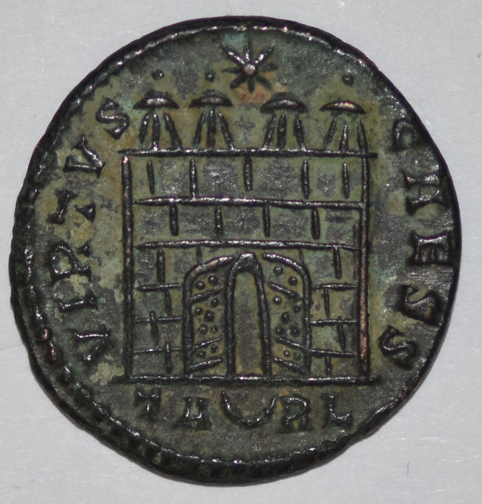 Crispus Campgate showing 4 Turrets from the Arles Mint.